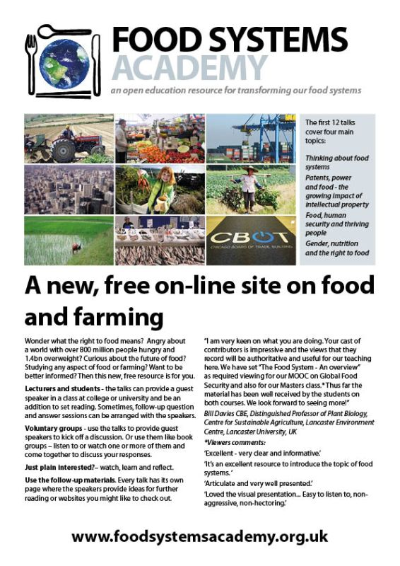 Food Systems Academy flyer